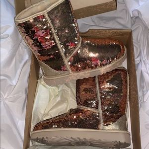 Rose gold reversible sequin uggs